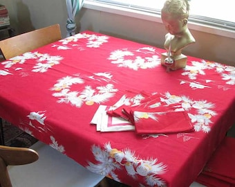 Cabin in the Snow tablecloth Red winter tablecloth Vintage 50s Pine trees Pine Cones Christmas tablecloth & Napkins Holiday large rectangle