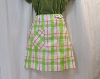 af3d7459 Mod Mini skirt 70s Vintage plaid golf skirt Vintage Skort with shorts Green  and white vintage 70s M