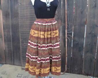 c563a91af6 Western desert cowgirl Skirt 70s cotton corduroy brown southwest print M