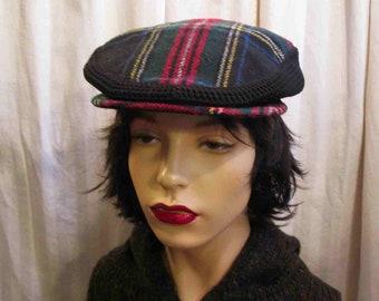 29210bea Tartan and Knit Drivers Cap 60s Vintage newsboy Black Stewart tartan hat  Vintage Plaid small brim cap Made in Britain Dunn & Co S M