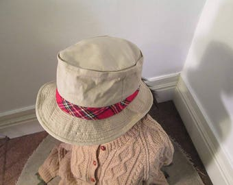 7a977eba Vintage Bucket Hat LL Bean Tan cotton and Plaid hat vintage Tartan Khaki  cotton Plaid band brimmed cap 60s Hat US Union made size 7