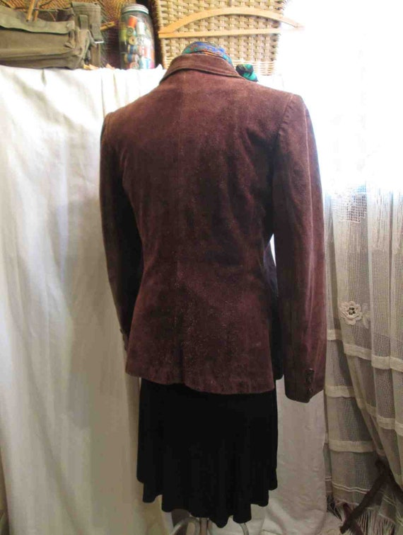 70s Vintage Cocoa Brown Suede Leather Jacket vint… - image 5