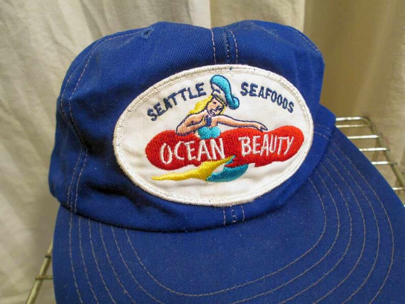 Ocean Beauty Mermaid Vintage 80s baseball Cap Navy blue cotton  89df7c6040a9