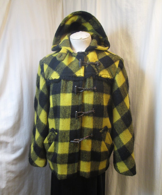 Yellow Buffalo Plaid Jacket 30s Distressed duffel
