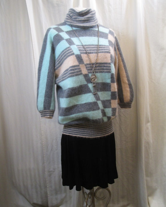 New Wave 80s turtleneck Sweater Pastel Turquoise a