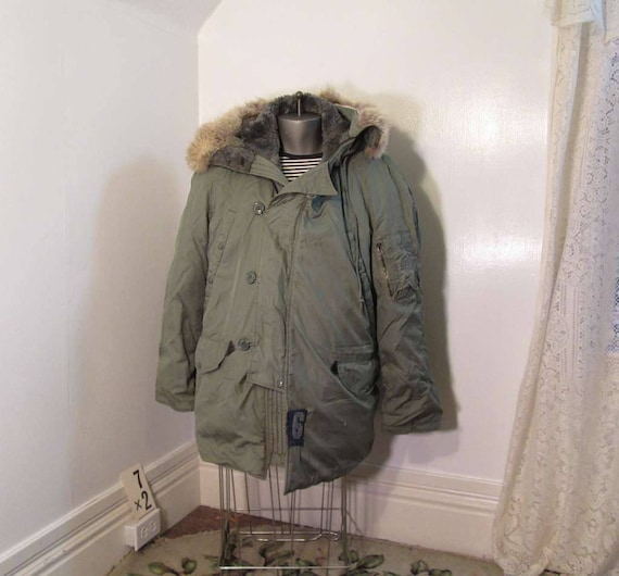 2c8d8120c28 N 3B Green Military Jacket 60s vintage Vietnam Era Flying