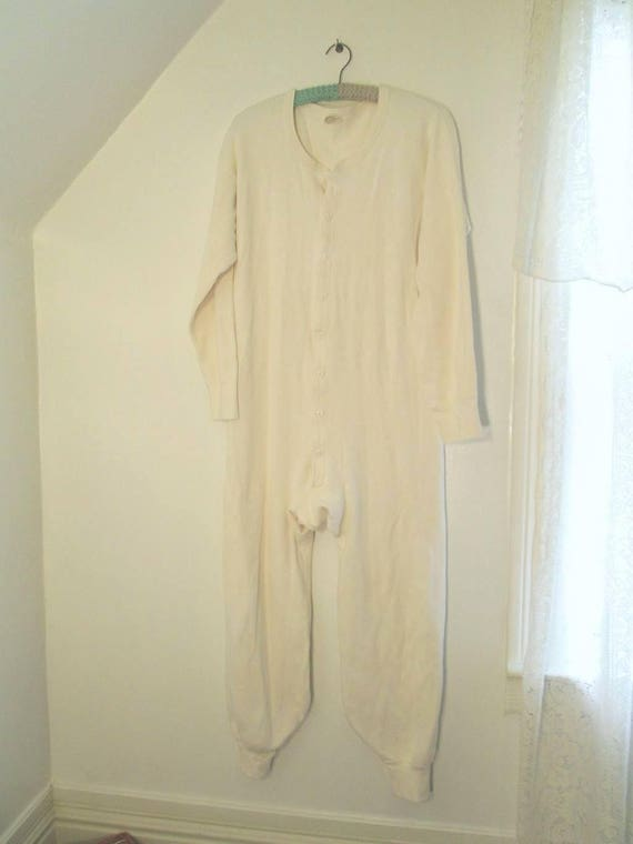 b7a7b6b1b Vintage White Cotton Longjohns 80s White Long Johns Cotton