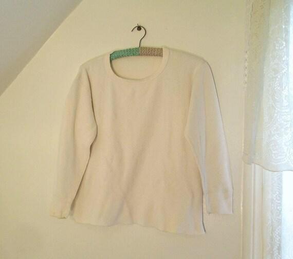 Tricot Vintage thermique chemise des années 80 en coton gaufré blanc Long Johns chemise coton thermique maillot de corps L