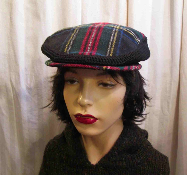 0bea14a1b79 Tartan and Knit Drivers Cap 60s Vintage newsboy Black Stewart
