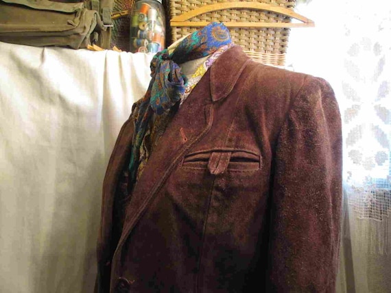 70s Vintage Cocoa Brown Suede Leather Jacket vint… - image 7