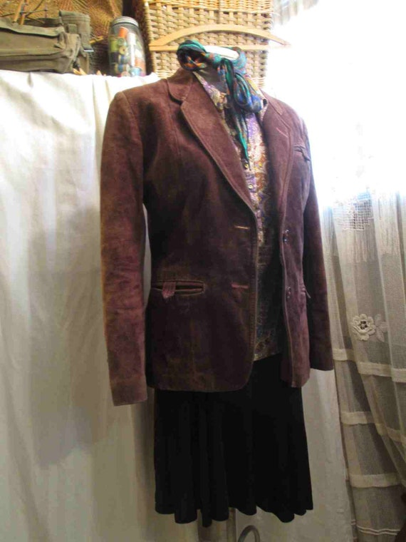 70s Vintage Cocoa Brown Suede Leather Jacket vint… - image 2