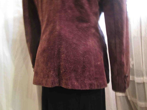 70s Vintage Cocoa Brown Suede Leather Jacket vint… - image 6