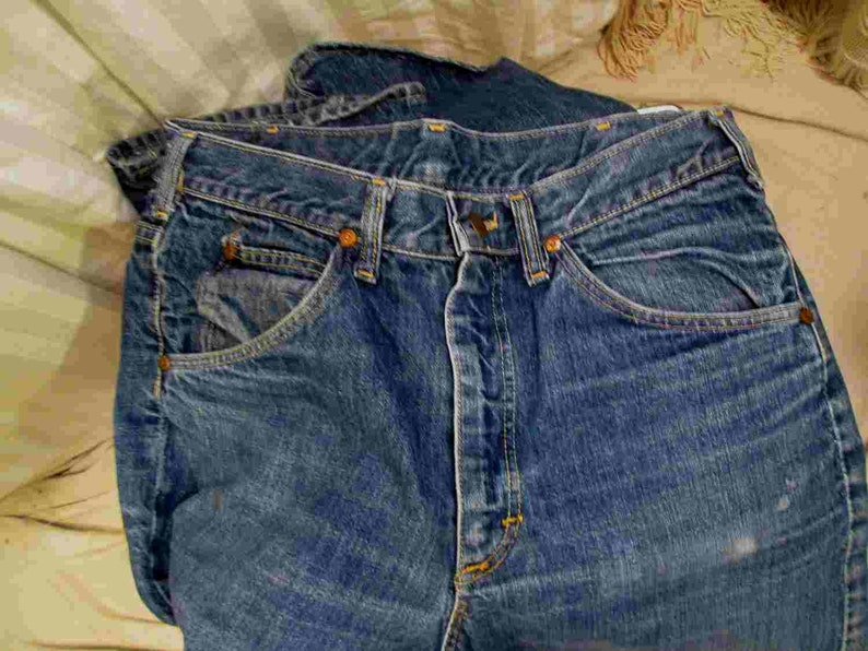 4beb6772b50 70s Denim Vintage Lee Riders Jeans Distressed flared jeans faded 70s Boot  cut flare leg denim Talon 42 zipper deep blue denim USA made 34 30