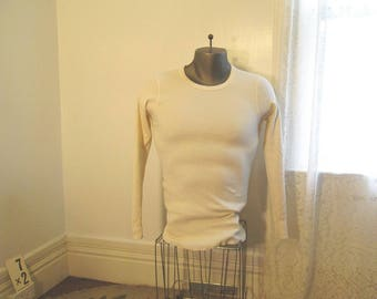 Duofold Thermal Cotton 80s Vintage Thermal shirt  cotton waffle knit cream Long Johns cotton thermal undershirt S M