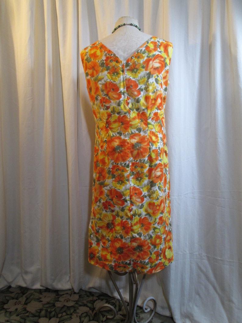 Sunny citrus Cotton shift dress 60s Vintage Orange and Yellow floral sleeveless Dress  M