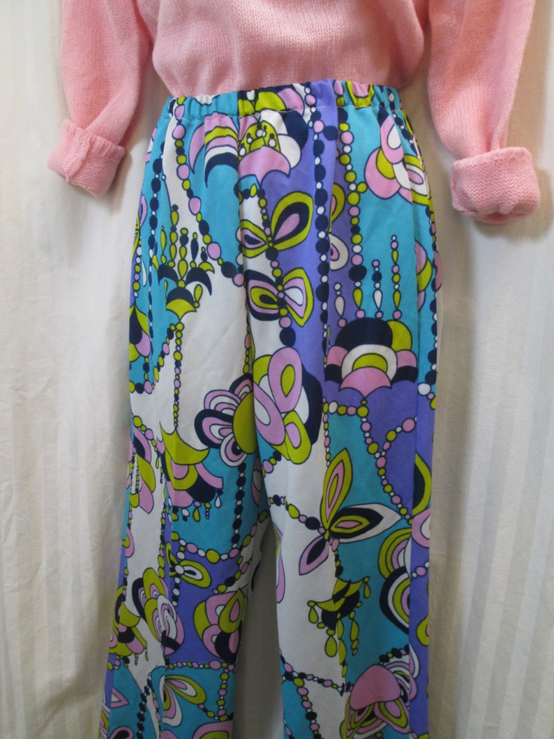 Vintage Mod Psychedelic pants 60s Wild Floral Big Pink and Blue 1960s Modern print Pants S M