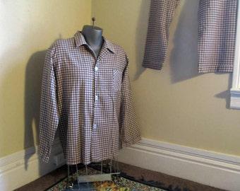 Vintage Flannel Pajamas Cotton plaid pajamas brown plaid cotton sleepwear 70s vintage classic men's sleepwear L XL