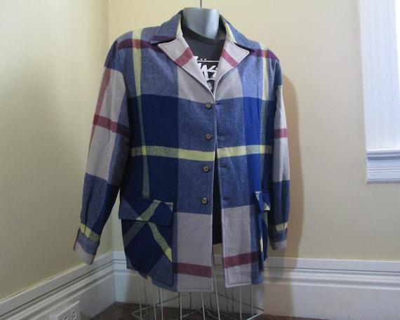 Vintage 40s Wool Plaid Jacket Canada Chalet plaid