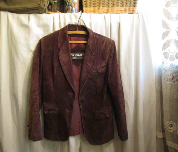 70s Vintage Cocoa Brown Suede Leather Jacket vint… - image 9