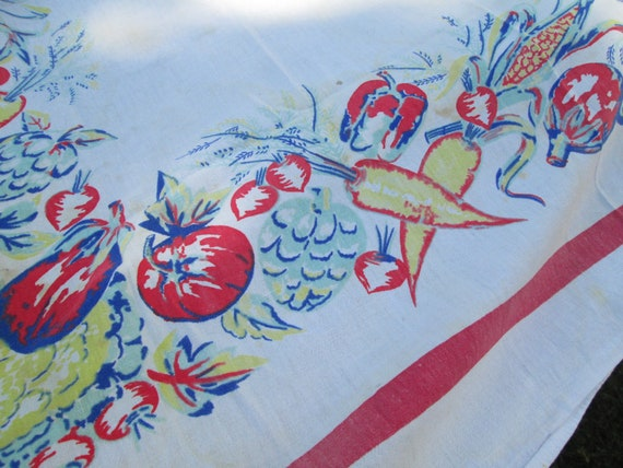 Vintage Fruit and Vegetables tablecloth White and red home garden Square tablecloth Tomato Vintage 70s home decor