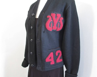 40s Sweater Distressed cardigan Black Wool 42 Chenille Patch Music Y award Vintage 40s Halloween Vintage wool Sweater button front Zombie M