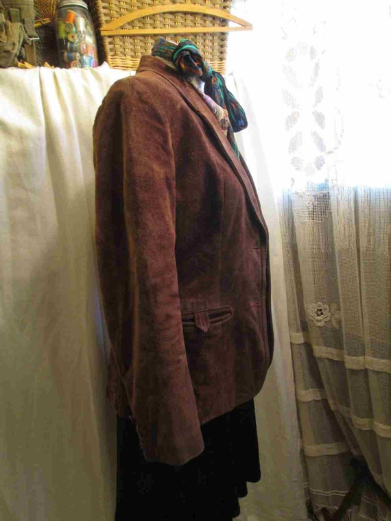 70s Vintage Cocoa Brown Suede Leather Jacket vint… - image 4