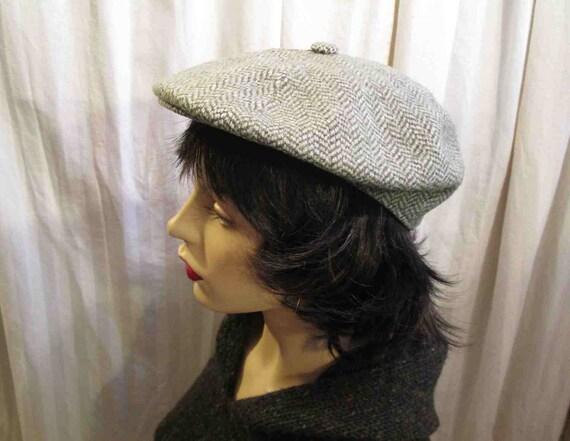 64089931cee Kangol Vintage wool tweed Pale Gray newsboy cap Kangol Made in