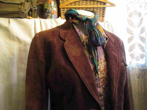 70s Vintage Cocoa Brown Suede Leather Jacket vint… - image 3