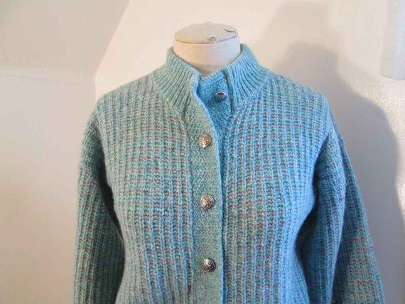 b742140308 Vintage Turquoise Sweater 70s Blue and Pink tweed Wool