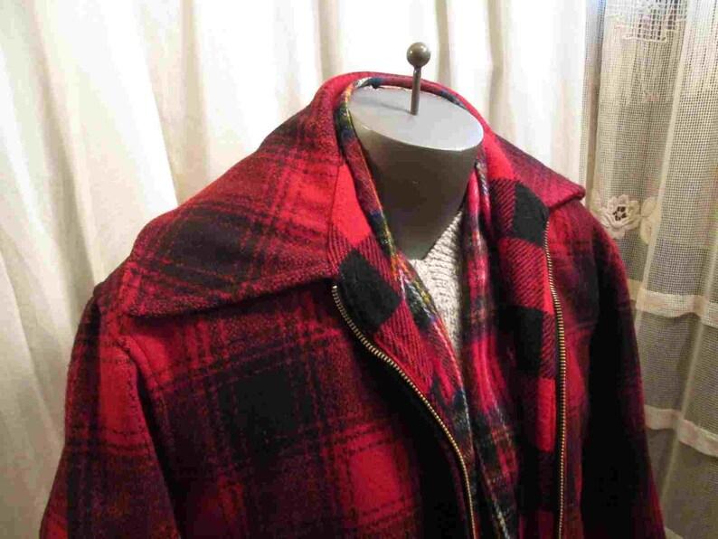 64a0ca1fc93df 50s Vintage Black Red shadow plaid Cruiser Coat wool plaid | Etsy