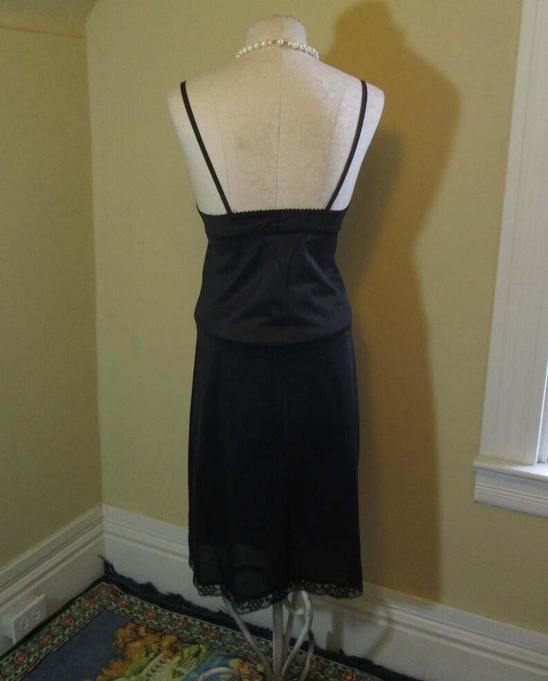 70s Black Lace Slip vintage 70s Sears Black silky nylon deep V top lace Doesn/'t Slip Black 1970s Vintage Wedding lingerie nylon slip M