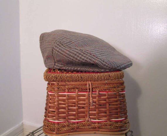 2161b2faac5 Glen Plaid Vintage wool Cap Brown wool newsboy cap McGregor