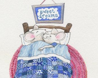 SALE! Children's illustration Sweet Dreamers mice pink blue patchwork nursery print