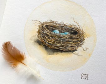 Robin's Nest Original Watercolor Painting with 3 Blue Eggs OOAK