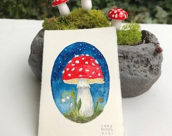 Midnight Mushroom Original Tiny Watercolor Painting Free Shipping