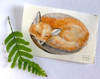 Napping Fox Original Tiny Watercolor Painting Free Shipping