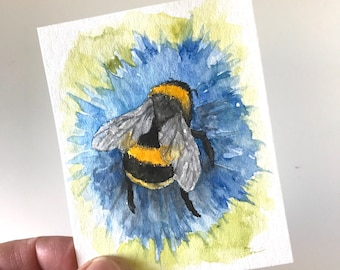 Bumblebee and Blue Tiny Original Watercolor Painting Free Shipping
