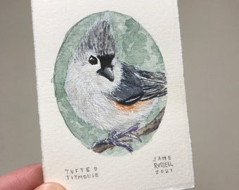 Tufted Titmouse #2 Original Tiny Watercolor Painting Free Shipping