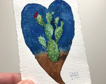 Heart of the Desert No. 1 Original Tiny Watercolor Painting Valentine Wedding Free Shipping