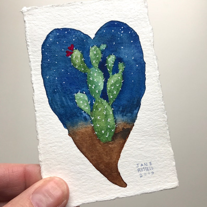 Heart of the Desert No 1 Original Tiny Watercolor Painting Valentine Wedding Free Shipping