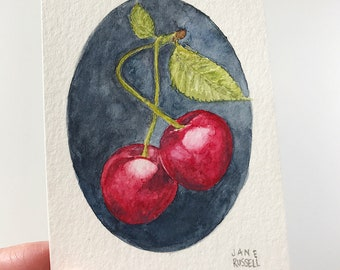 Cherries Deux Tiny Original Watercolor Free Shipping