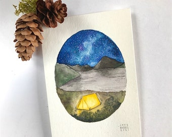 Under the Stars Tiny Original Watercolor Free Shipping