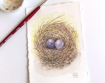 Love Nest No. 18 Tiny Original Watercolor Free Shipping