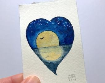 Full Moon Reflection Original Tiny Watercolor Painting Valentine Wedding Free Shipping