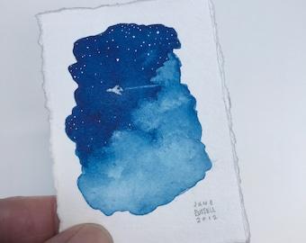 Redeye Original Tiny Watercolor Painting Free Shipping