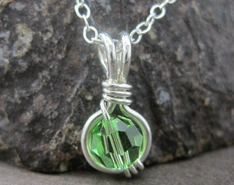 Peridot Birthstone Jewelry O Loop Pendant Necklace in Sterling Silver with Swarovski Crystal -- All Birthstones Available