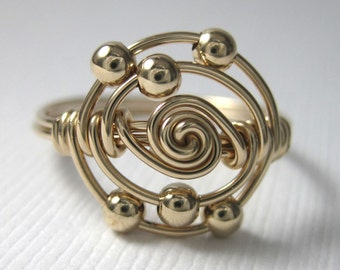 Personalized Atomic Elements Ring Chemistry Jewelry Carbon Atom Ring Wire Wrapped Available in 14k Yellow or Rose Gold-Filled