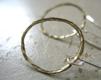 Hoop Earrings, Brass Hoop Earrings, Handmade Dangle Drop Earrings, Metalwork Earrings, Brass Jewelry