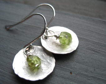 Peridot Earrings, Metalwork Peridot Hammered Silver Dome Handmade Earrings, Peridot Dangle DropEarrings
