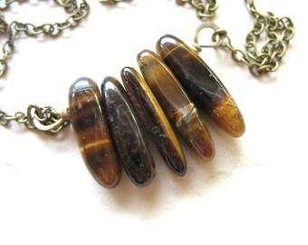 Tigereye Necklace, Tigereye Stone Necklace, Handmade Artisan Gemstone Chain Necklace, Tigereye Jewelry, Made in the USA